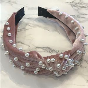 Blush Velvet Pearl Headband